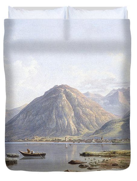 View Of Lake Geneva With The Town Of Villeneuve Duvet Cover by Francis Danby