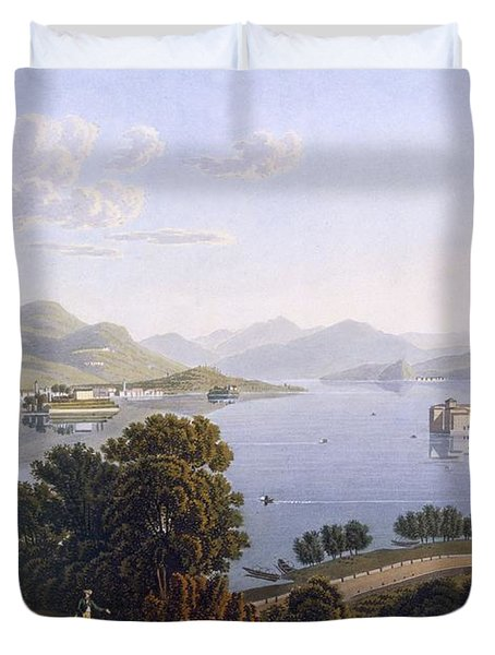View Of Lake Maggiore And The Borromean Duvet Cover by Swiss School
