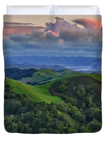 View Of Morro Bay Duvet Cover