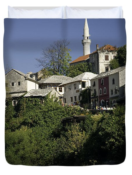 view of Mostar in Bosnia Hercegovina with minaret bridge and river Duvet Cover