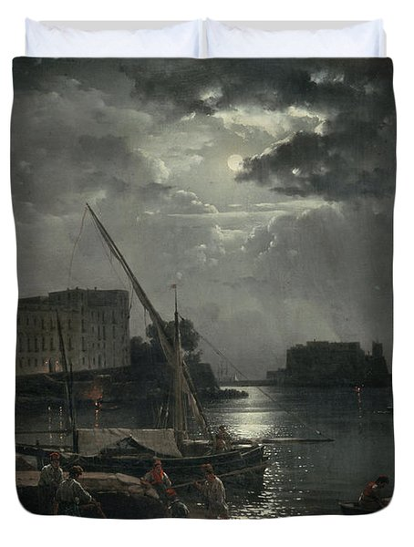 View Of Naples In Moonlight Duvet Cover