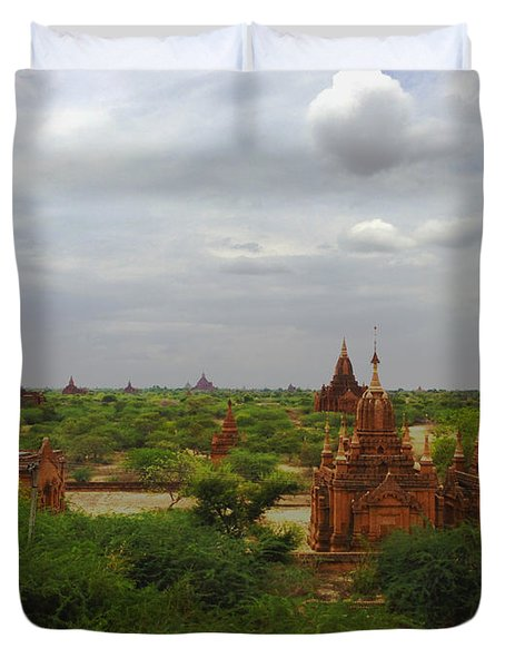 Duvet Cover featuring the photograph View Of Smaller Temples Next To Dhammayazika Pagoda Built In 1196 By King Narapatisithu Bagan Burma by Ralph A  Ledergerber-Photography