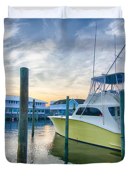 View Of Sportfishing Boats At Marina Duvet Cover