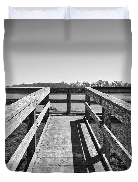 View Of The Elkhorn Slough From A Platform.  Duvet Cover by Jamie Pham