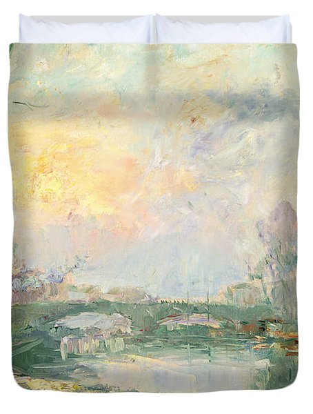 View Of The Seine Paris Duvet Cover by Albert Charles Lebourg