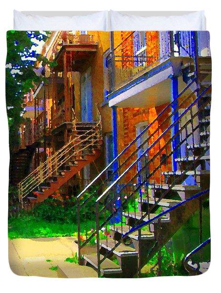 View Of Verdun Steps Stairs Staircases Winding Through Summer  Montrealstreet Scenes Carole Spandau Duvet Cover by Carole Spandau