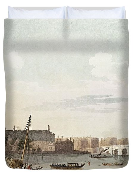 View Of Westminster And The Bridge Wc On Paper Duvet Cover by English School