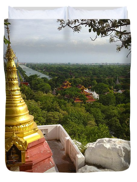 Duvet Cover featuring the photograph View Over Ancient City Of Mandalay Aungmyaythazan From Mandalay Hill Mandalay Burma by Ralph A  Ledergerber-Photography