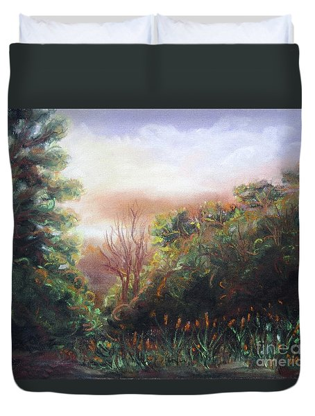 Duvet Cover featuring the pastel View by Vesna Martinjak