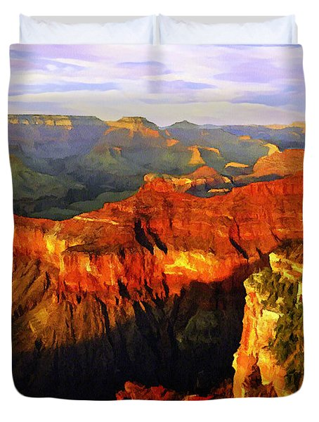 View - Yavapai Point Duvet Cover by Bob and Nadine Johnston