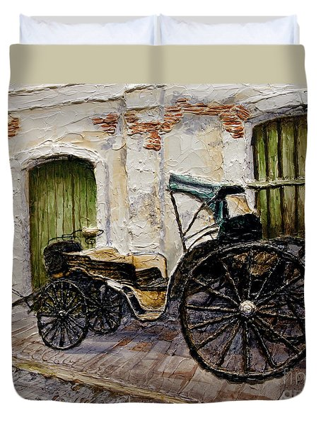Duvet Cover featuring the painting Vigan Carriage 2 by Joey Agbayani
