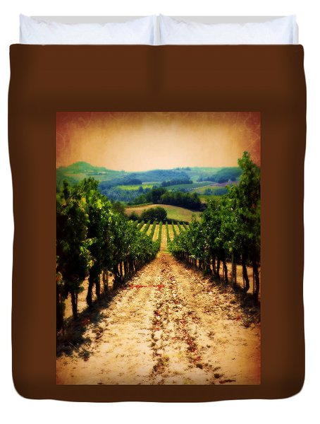 Duvet Cover featuring the photograph Vigneto Toscana by Micki Findlay