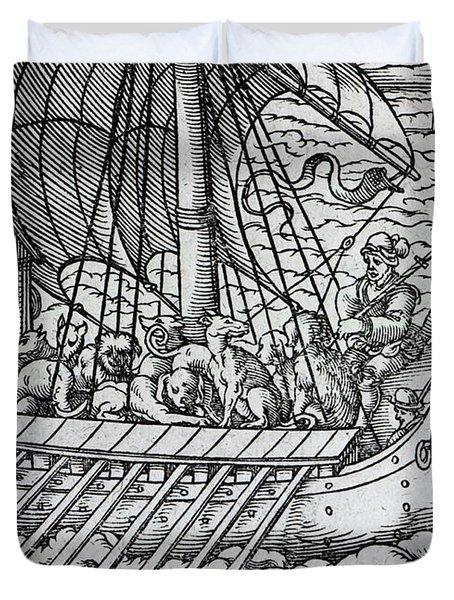 Viking Ship Duvet Cover by German School
