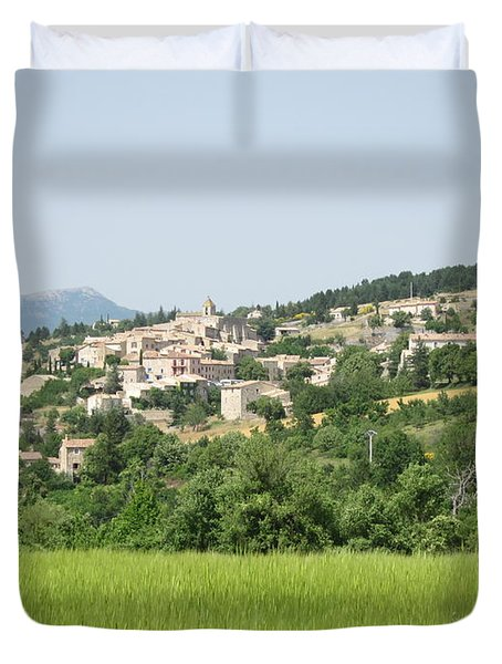 Village Beyond The Wheat Field Duvet Cover by Pema Hou