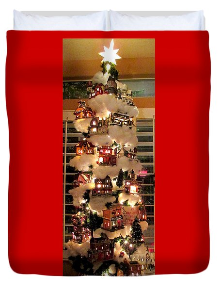 Village Christmas Tree Duvet Cover by Randall Weidner