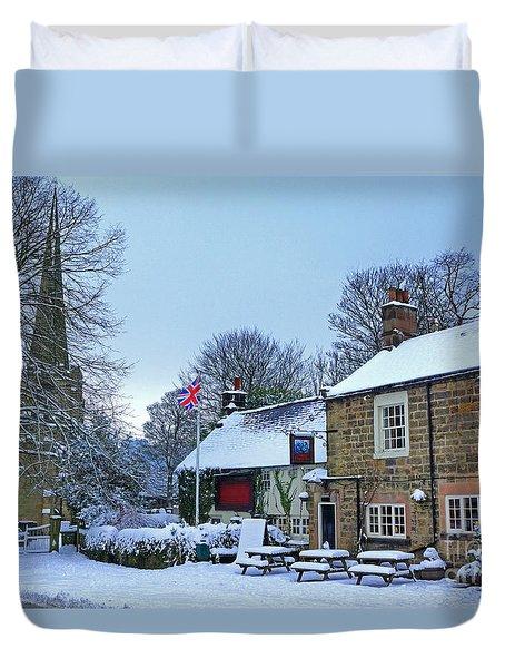 Village Church And Pub Duvet Cover by David Birchall