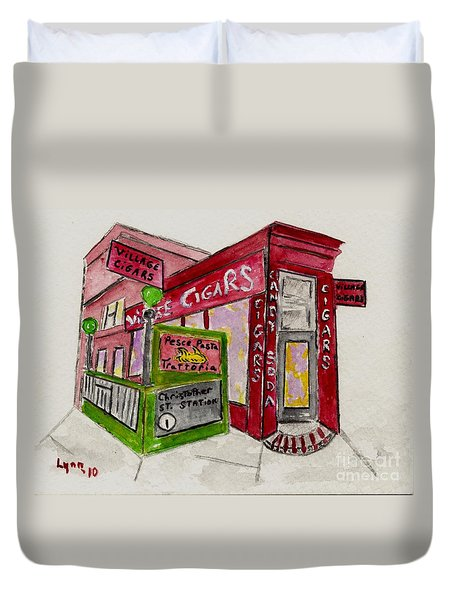 Village Cigar On Christopher Street Duvet Cover
