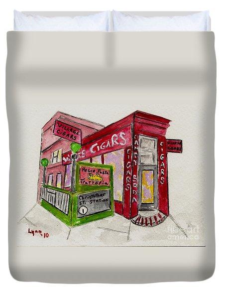 Village Cigar On Christopher Street Duvet Cover by AFineLyne