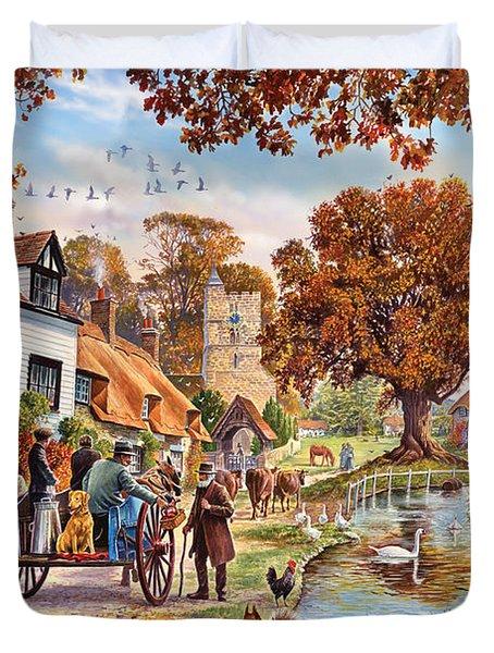 Village In Autumn Duvet Cover