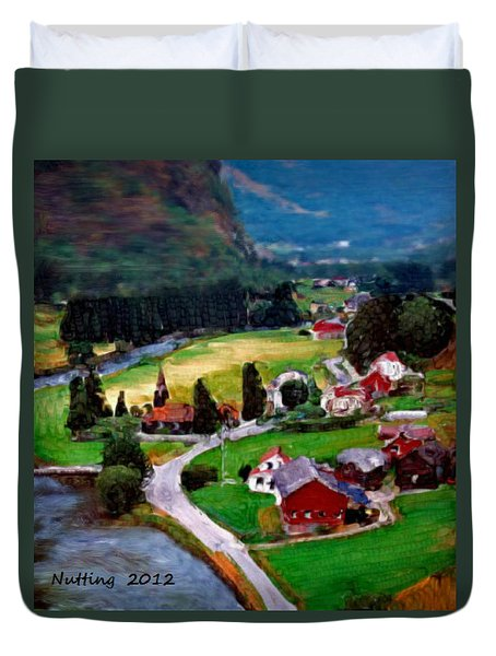 Duvet Cover featuring the painting Village In The Mountains by Bruce Nutting