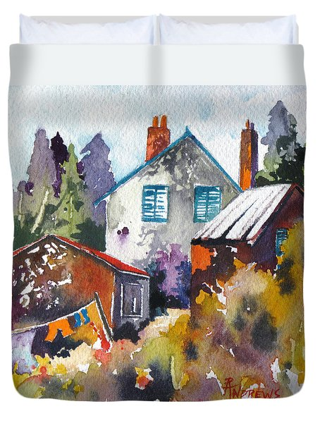 Duvet Cover featuring the painting Village Life 1 by Rae Andrews