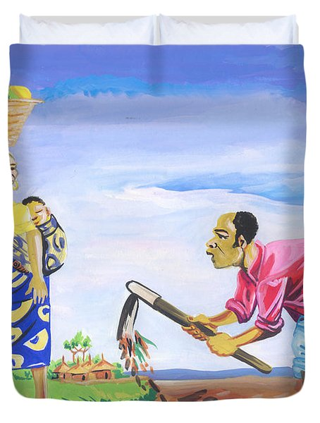 Duvet Cover featuring the painting Village Life In Cameroon 01 by Emmanuel Baliyanga