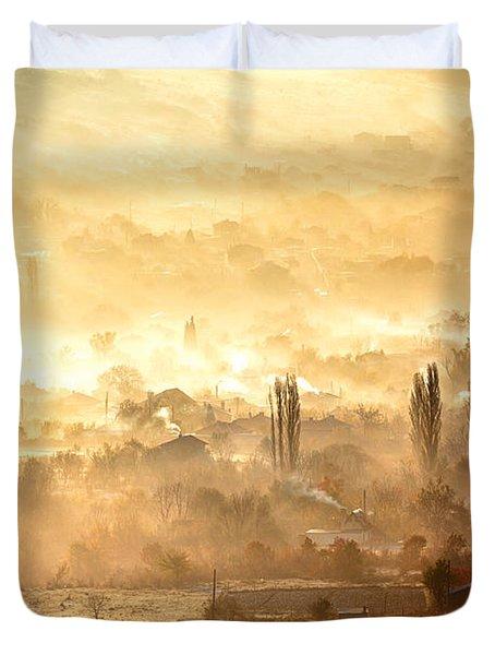 Village Of Gold Duvet Cover by Evgeni Dinev