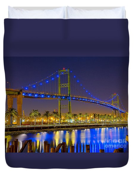 Vincent Thomas Bridge - Nightside Duvet Cover