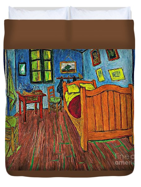 Duvet Cover featuring the photograph Vincents Bedroom by John  Kolenberg