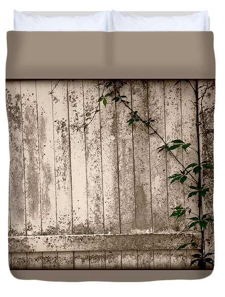 Duvet Cover featuring the photograph Vine And Fence by Amanda Vouglas