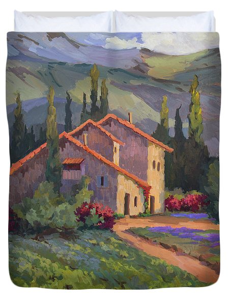 Vineyard And Lavender In Provence Duvet Cover