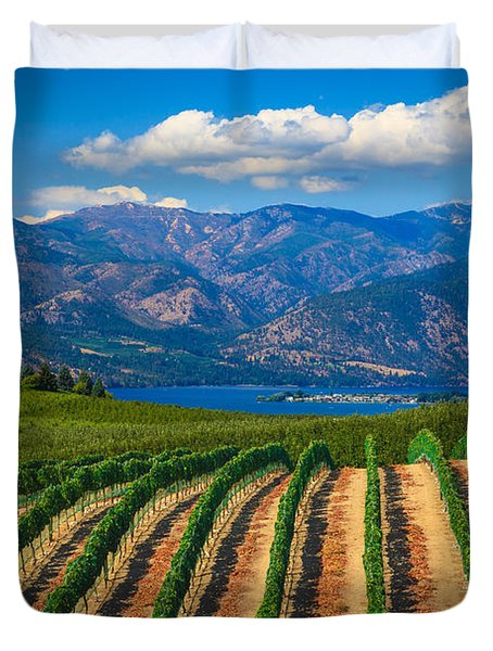 Vineyard In The Mountains Duvet Cover