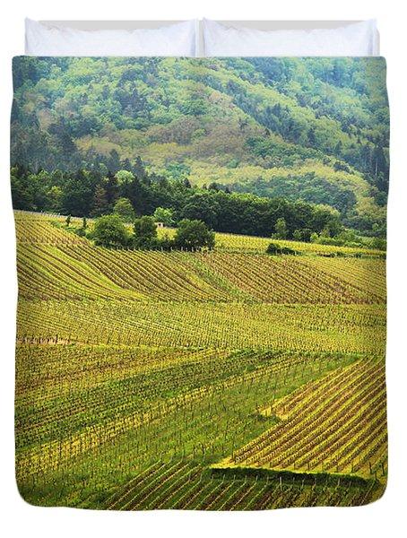 Vineyards Below Zellenberg France 1 Duvet Cover by Greg Matchick