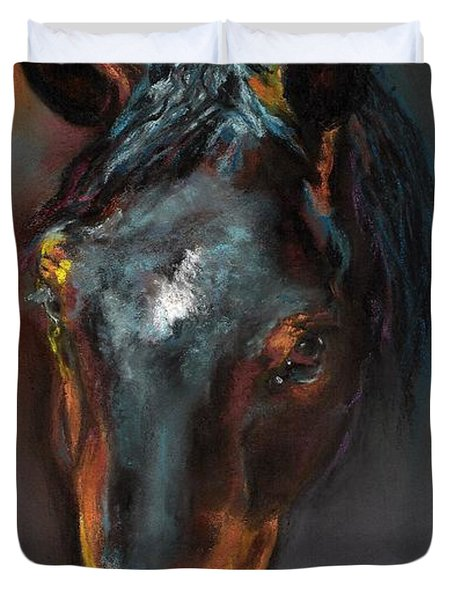 Vinnie Mustang Love Duvet Cover by Frances Marino