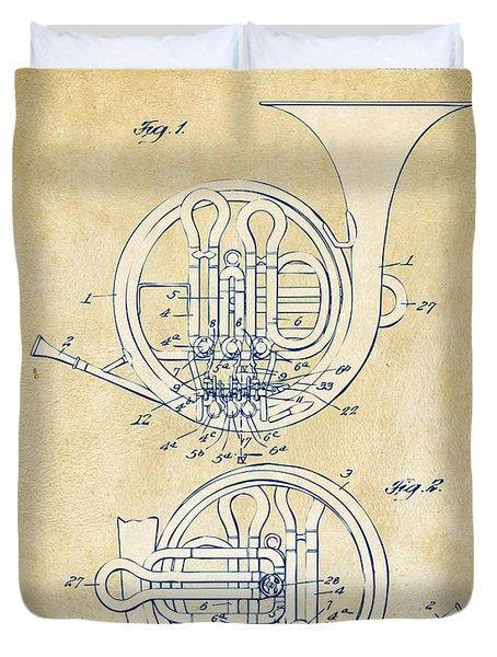 Vintage 1914 French Horn Patent Artwork Duvet Cover by Nikki Marie Smith