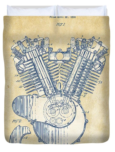 Duvet Cover featuring the digital art Vintage 1923 Harley Engine Patent Artwork by Nikki Marie Smith