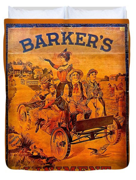 Vintage Ad Barker's Liniment Duvet Cover