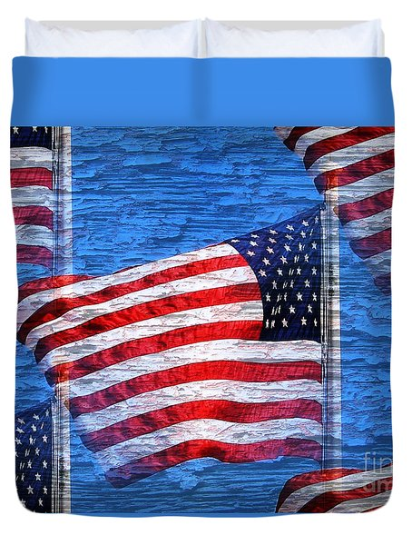 Vintage Amercian Flag Abstract Duvet Cover