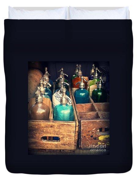 Vintage Antique Seltzer Bottles Duvet Cover by Miriam Danar