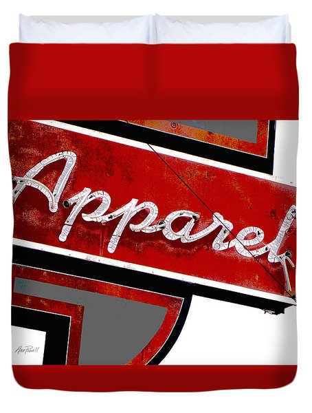 Vintage Apparel Sign Red And Gray Duvet Cover