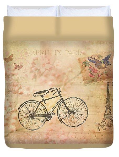 Vintage April In Paris Duvet Cover
