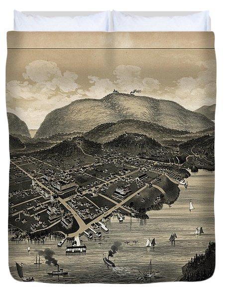 Vintage Bar Harbor Map Duvet Cover