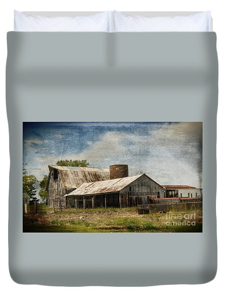 Barn -vintage Barn With Brick Silo - Luther Fine Art Duvet Cover by Luther Fine Art