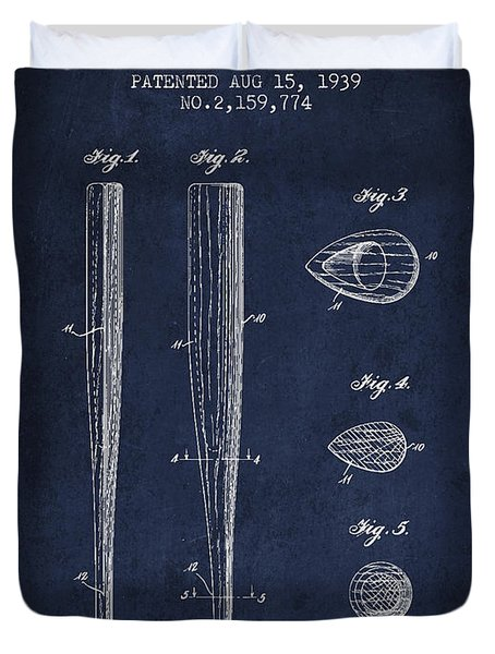Vintage Baseball Bat Patent From 1939 Duvet Cover by Aged Pixel