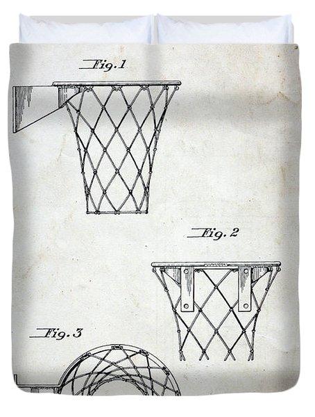 Vintage Basketball Hoop Patent Duvet Cover by Paul Ward