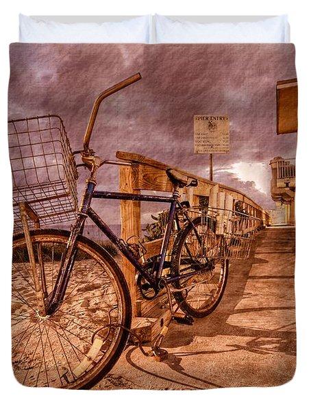 Vintage Beach Bike Duvet Cover by Debra and Dave Vanderlaan