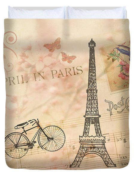 Vintage Bicycle And Eiffel Tower Duvet Cover by Peggy Collins