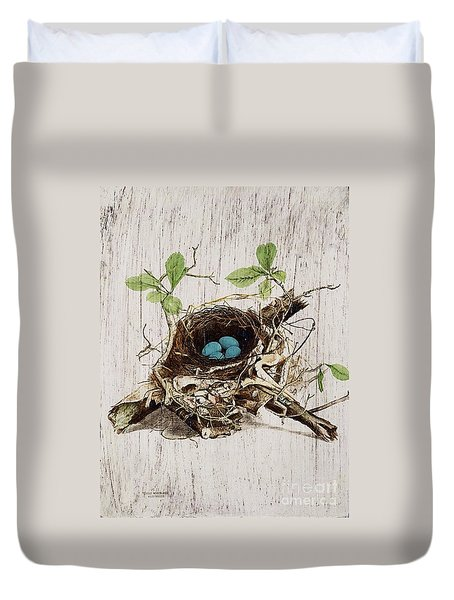 Vintage Bird Nest French Botanical Art Duvet Cover by Cranberry Sky