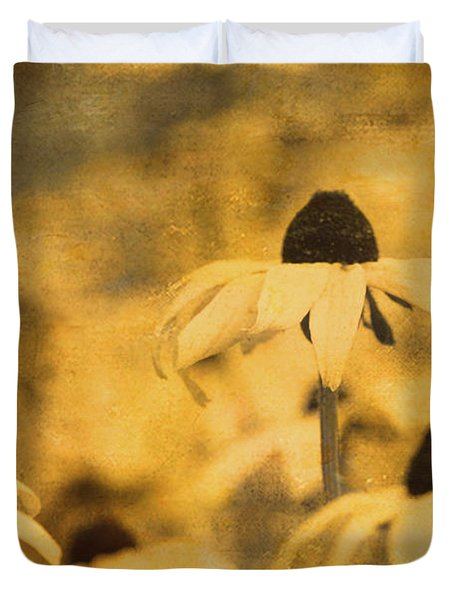Duvet Cover featuring the photograph Vintage Black-eyed Susans by Peggy Collins