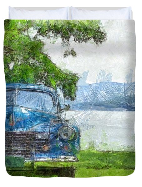 Vintage Blue Caddy At Lake George New York Duvet Cover by Edward Fielding